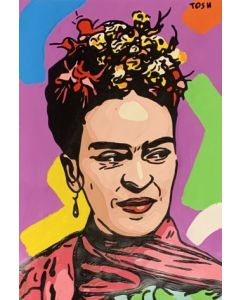 Andrew  Tosh, Frida, acrilico e smalto su carta, 33x48cm, 2020