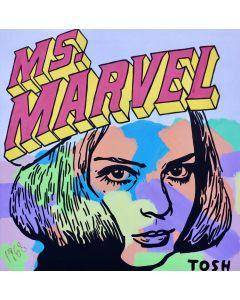 Andrew Tosh, Ms Marvel, tecnica mista su tela, 70x70 cm