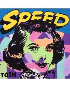 Andrew Tosh, Speed, tecnica mista su tela, 80x80 cm