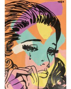 Andrew Tosh, Woman, acrilico e smalto su carta, 33x48 cm, 2020