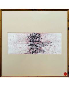 Giancarlo Prandelli, Battaglia di Anghiari e codice P a vortice, china e sanguigna su cartoncino, 19.5x49cm (D166)