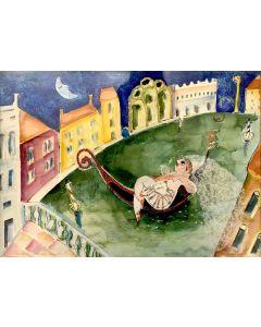 Anna Antola, Venezia...mon amour!, tecnica mista su cartoncino, 50x70 cm