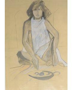 Anonimo, Nudo e natura morta, disegno a carboncino su carta, 43x62 cm