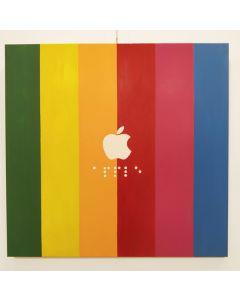 Alessandro D'Aquila, Apple, smalto su tela, 100x100 cm