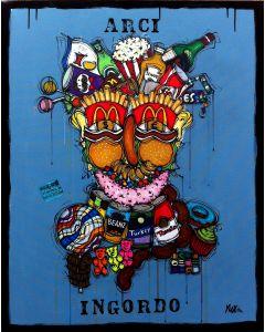 Yux, Arci Ingordo, acrilico pastelli a cera, smalto e manifesti su tela, 80x100 cm
