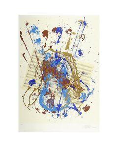 Arman, Violino e spartito, litografia materica, 100x70 cm