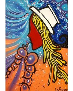 La Pupazza, Asciutta pasta, acrilico e spray su carta, 50x70 cm