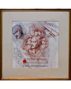 Giancarlo Prandelli, Autoritratto, matita, sanguigna e china su cartoncino,41x41cm