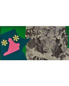 Enrico Baj, Les demoiselles d'Avignon, litografia a colori e collage 38x75 cm, 1972