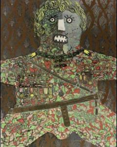 Enrico Baj, Generale, Tecnica mista su base litografica, 70x100cm, 1972