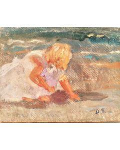 Daniela Penco, Bambina, Olio su cartone telato, 9x7 cm