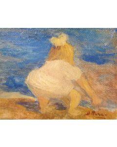 Daniela Penco, Imparando a camminare, olio su cartone telato, 9x7 cm