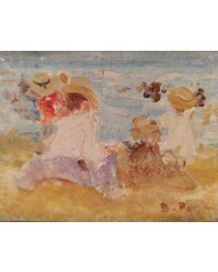 Daniela Penco, bambini in spiaggia, olio su cartone telato, 9x7 cm