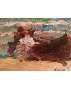 Daniela Penco, Barca, olio su cartone telato, 10x15 cm