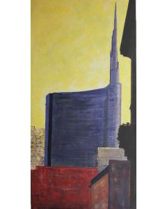 Pier Luca Bencini, Vertical Milano, acrilico su tela, 50x100 cm