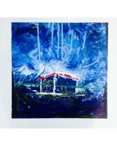 Mario Schifano, Casa sola, litografia, 85x85 cm