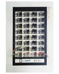 Enrico Pambianchi, Bastard Keaton, collage, olio, acrilico, matite, gessetti, resine su tavola, 50x78 cm