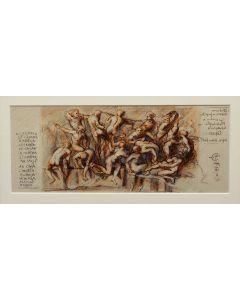 Giancarlo Prandelli, Battaglia di Cascina,inchiostro, matita e sanguigna su cartoncino, 18,5x48,5cm (D72)