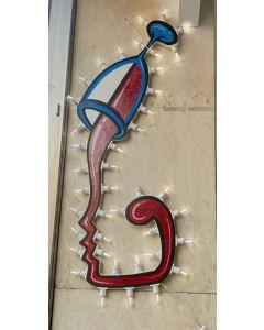 La Pupazza, Bicchiere Umano, Scultura con led, h 118 cm