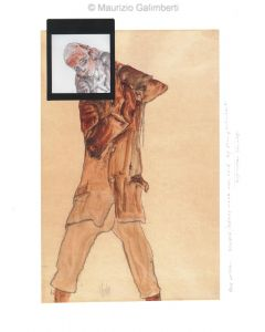 Maurizio Galimberti, Boy with...Schiele ready made, originale unico, 27x37 cm