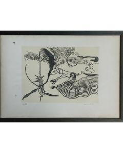 Remo Brindisi, acquaforte, 50x35 cm
