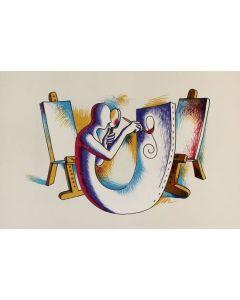 Mark Kostabi, L'Atelier dell'Artista, Litografia, 45x63 cm, 2000