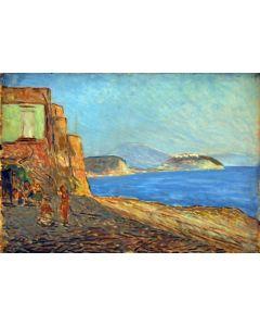 Giovanni Malesci, Golfo di Pozzuoli, olio su tavola, 48,5x34 cm, 1955