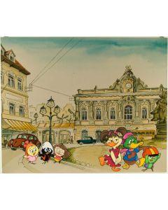 """Pagot, Disegno su tavola, tratto da """"Calimero va in città"""", 86x70 cm"""