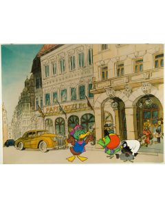 """Pagot, Disegno su tavola, tratto da """"Calimero va in città"""", 96x70 cm"""