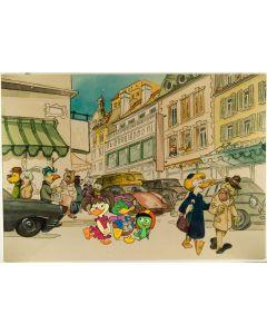 """Pagot, Disegno su tavola, tratto da """"Calimero va in città"""", 100x70 cm"""