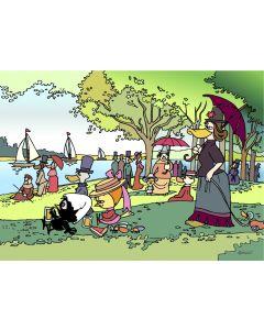 Pagot, Calimero e Seurat, grafica su plexiglas, 50x70 cm