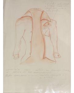 Carlo Massimo Franchi, Progetto giacca, Disegno su carta, 56x77 cm