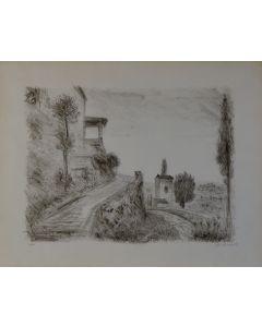 Michele Cascella, Stradina, litografia, 46x58 cm