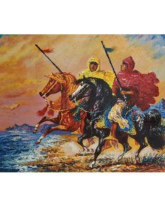 Giovan Francesco Gonzaga, Cavalieri Arabi, serigrafia mista, 70x80 cm