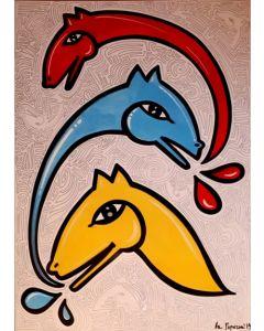La Pupazza, Cavallo che soffia, acrilico e spray su tavola, 70x100 cm