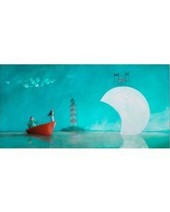 Diego Santini, A cena sulla luna, Giclée art print ritoccata a mano, 60x105 cm