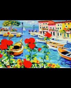 Giorgio Cesati, Lago di Como, serigrafia su tela, 55x40 cm