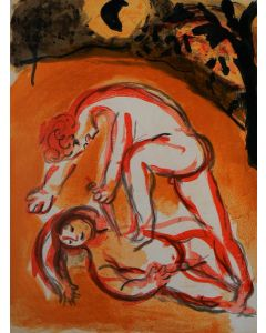 Marc Chagall, Caino e Abele, Litografia colorata, 26x35 cm