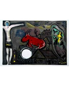 Marc Chagall, Cristo, Bue rosso e Madonna (Crocifissione Mistica), Litografia colorata, 38x55 cm
