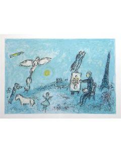 Marc Chagall, Il pittore e il suo doppio, Litografia colorata, 38x28 cm