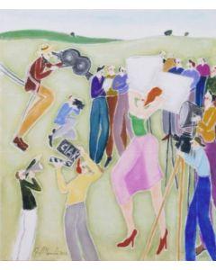 Augusto Monti, Ciak si gira, olio su tela, 60x70 cm