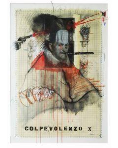 Enrico Pambianchi, Innocenzo X, collage, olio, acrilico, matite, gessetti, resine su carta, 78x107 cm