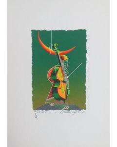 Meloniski da Villacidro, Concertino per Luna Rossa, serigrafia e collage ritoccata a mano, 25x35 cm