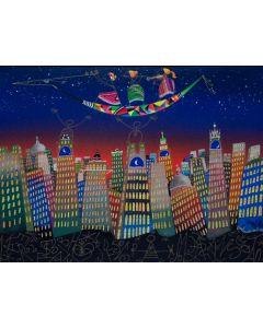 Meloniski da Villacidro, Concertino per una metropoli sognata, tecnica mista su tela, 60x80 cm