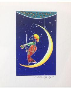 Meloniski da Villacidro, Concertino sulla Luna, serigrafia e collage ritoccata a mano, 20x26 cm