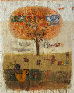 Domenico Gabbia, Racconto, acrilico, oilbar e fusaggine, 120x96 cm