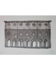 Giovanni Franzi, La Loggia dei Mercanti, litografia, 35x49 cm
