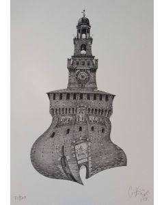 Giovanni Franzi, Il Castello Sforzesco, litografia, 35x49 cm