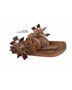 Giorgio Mascheroni, Barca a pale (propulsione a pedali), scultura in legno