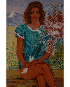Michele Cascella, Fanciulla in fiore, serigrafia, 92x64 cm